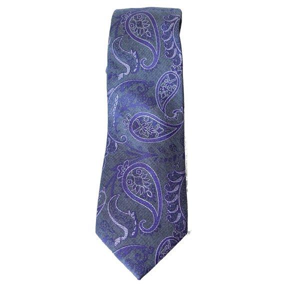 MICHAEL KORS Gray Paisley Movement Silk Blend Tie